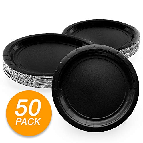 Amcrate Black Disposable Paper Party Plates 9' - Ideal for Weddings, Party's, Birthdays, Dinners, Lunch's. (Pack of 50)
