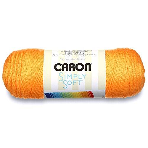 Caron Simply Soft Brites Yarn, 6 oz, Mango, 1 Ball