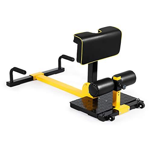COSTWAY 8 en 1 Máquina para Sentadillas Profundas Altura Ajustable Ejercicios Multifuncional para Gimnasio Hogar Carga hasta 120kg Amarillo y Negro