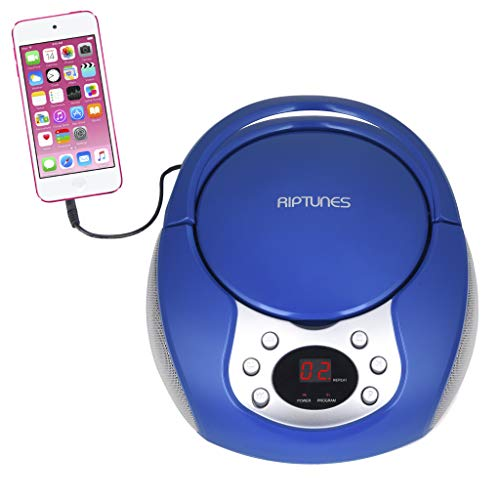RipTunes CD Player Boombox- Portable Blue Aux-in CD Boombox, AM/FM...