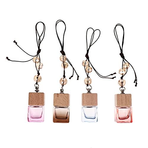 EXCEART Botella de Perfume Colgante para Coche Difusor de Aceites Esenciales para Coche Cristal Vacío Ambientador para Coche Frascos de Aromaterapia para Aromaterapia Encantos de Espejo