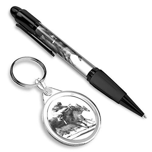 Hermoso y cómodo bolígrafo con una imagen y elegante llavero (redondo) para las llaves - BW - Carreras de caballos Jockey Race #43038