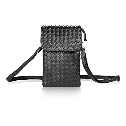 Bosam Woven Leather Women's Cell Phone Crossbody Bag Small Purse for iphone 11 Pro max XS XR X 8 7 plus 6.5 inch smartphones(Black)