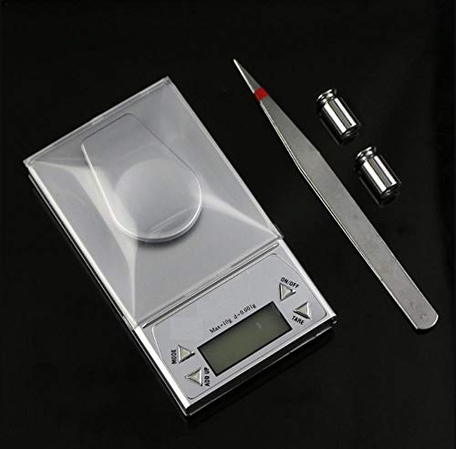Taschenwaage Feinwaage Digitalwaage Waage 10 G / 0,001 G Milligramm Präzisions-Digitalschmuck Diamantwaage Gewichtsausgleich Gramm