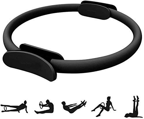 HebyTinco Cerchia di Pilates Anello ausiliario dello Yoga, 38cm Cerchi per Pilates, Strumento per Training per Un Training di Forza e di Resistenza Efficace (Nero)