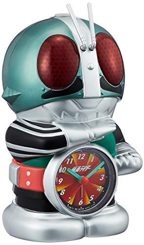 仮面ライダー 目覚まし時計 キャラクター アナログ おもしろ 音声 光 アラーム 緑 リズム時計 4SE502RH05