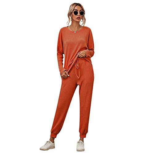 Conjunto de pantalón de chándal de 2 Piezas para Mujer, Traje de chándal Acanalado de Manga Larga Informal, Jersey de Cuello Redondo + Pantalones (Orange, XL)