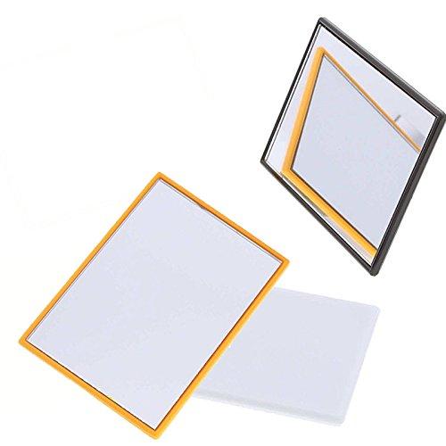 3x Eckiger kleiner Taschenspiegel - Handspiegel, Kosmetex Spiegel mit Kunststoff Korpus, verschiedene Farben, 3er Mix Set