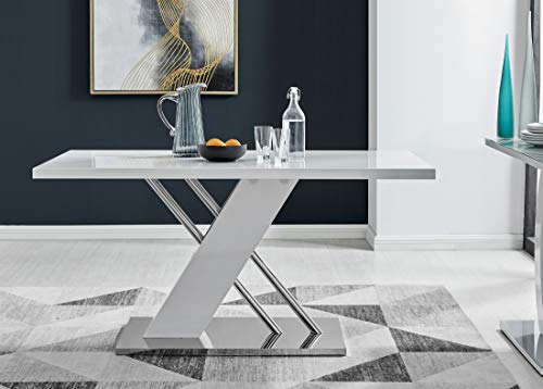 Sorrento 6 Modern Stylish Stainless Steel Chrome Metal and White Gloss Dining Table And 6 Milan Dining Chairs Set (Dining Table Only)