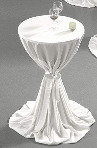 Gastro Uzal Stehtischdecke Milano mit Schleife Set 2 teilig in weiß 80-100 cm rund, für Tischhussen