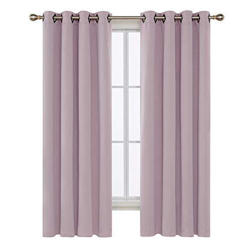 Deconovo Lavender Pink Blackout Curtains for Bedroom Grommet Top Thermal Insulated Room Darkening Curtains 52x72 Inch 2 Panels