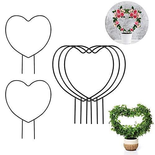 Feliciay - Set di 5 tralicci da giardino in ferro nero per piante rampicanti – 38,1 cm in ferro cerchio, traliccio per piante rampicanti all'aperto e rampicanti (cuore)