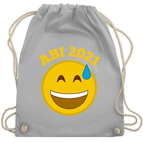 Shirtracer Abi & Abschluss - Emoticon - Abi 2021 - Wer hätt's gedacht? - Unisize - Hellgrau - abi handtuch 2019 - WM110 - Turnbeutel und Stoffbeutel aus Baumwolle