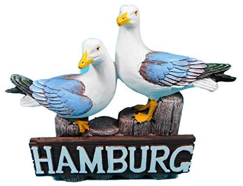 Gross Dekofigur 2 Möwen auf Hamburg Poller 16 x 14 cm Möwe Maritim See Vogel Figur Deko GPT 86923