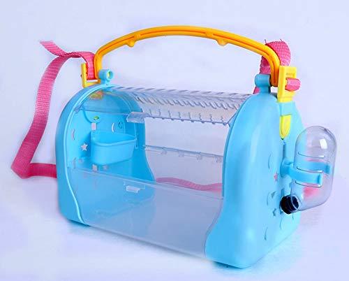 HMMJ Vogel Träger, Vogel Rucksack-Fördermaschine mit Feed-Box und Trinkbrunnen, tragbar for einfache Reinigung, 24 cm x 15 cm x 13 cm (Color : Blue)