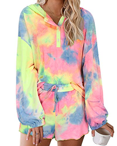 GOOTUCH Women Pajamas Set Sleepwear Tie Dye Printed Loungewear Long Sleeve Tops Shirts Button Down Hoodies Ruffle Elastic Drawstring Shorts 2 Piece Nightgowns Casual Outfits(Floral 03,XL)