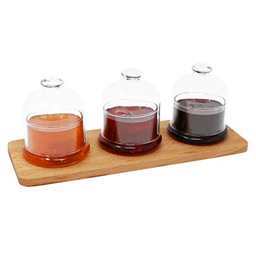 The Mammoth Design Tablett Glaskappen | Dekorativer Kuchen, Plätzchen-Serveware | Tischplatte, arbeitsplatte Display für gebäck | Wohnaccessoire Zum Frühstück, Party (3 Deckelglas)
