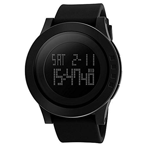Men's Digital Sports Watch Military Wristwatch Dual Time Waterproof Casual Stopwatch Timer Athletic Workout Black