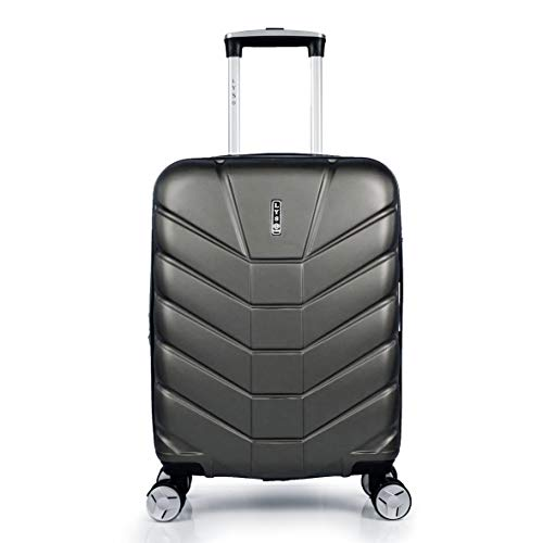LYS – Maleta de cabina extensible Trolley 55 x 37 x 20 cm Plus 7 cm flexible ultra ligera 4 ruedas forradas ABS rígido equipaje de mano para Ryanair, Easyjet, Lufthansa, etc. Gris gris oscuro small