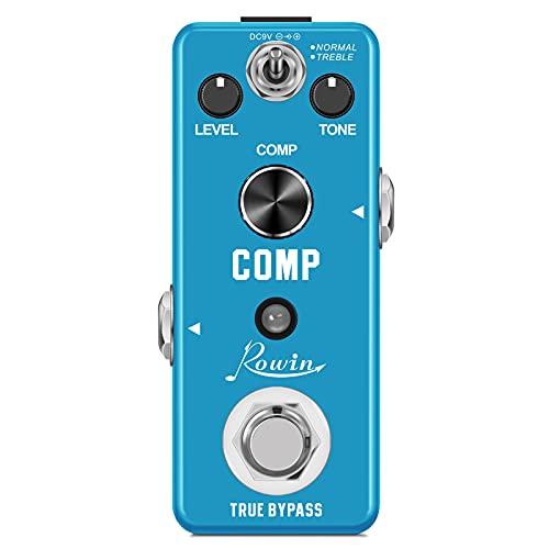 Rowin Pedal compresor para guitarra True Bypass analógico, efectos de compresión Ultimate Comp para guitarra eléctrica
