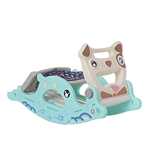 2-En-1 Tobogán De Caballo Mecedora Niños Montando A Caballo Regalo De Bebé Multifuncional Hogar Interior Tobogán para Niños Juegos De Deportes,Azul