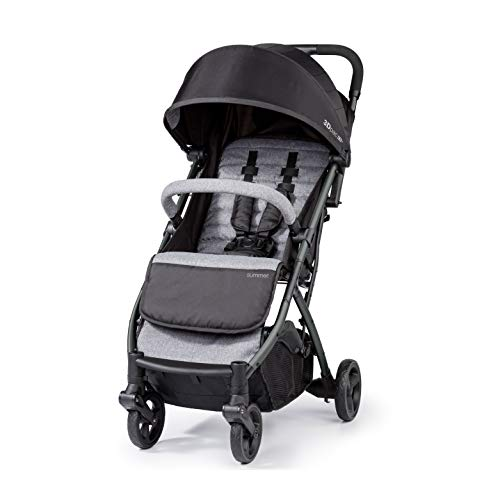 Summer 3Dpac CS+ Compact Fold Stroller, Black – Compact Car Seat Adaptable Baby Stroller – Lightweight Stroller with Convenient One-Hand Fold, Reclining Seat and Extra-Large Canopy
