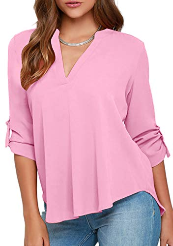 YMING Frauen Sommer Chiffon Sexy Tops Plus Size Loose Fit Bluse Muticolor Bluse Tops Pink L