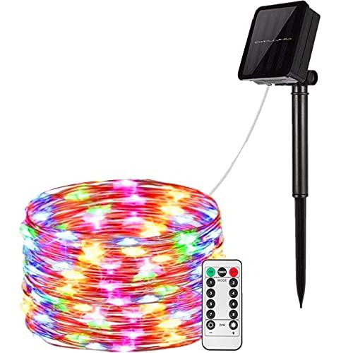 Luces de cadena solar, luces de hadas solares de alambre de cobre con 8 modos de iluminación, luces impermeables navideñas solares para jardín, fiesta al aire libre (100 led, 10m),Four colors