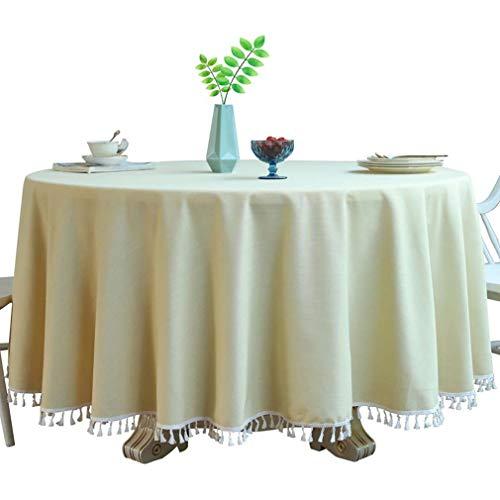 QIZIFAFA Baumwoll Leinen Tischdecken Runde Quaste Tischdecke Abwischbar, Für Partys Hochzeit Küche Zimmer Esszimmer Esstisch Protector (Durchmesser 78,74