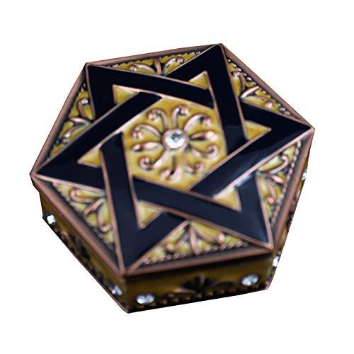 zhiwenCZW - Caja de joyería para decoración vintage (tamaño pequeño, hexagonal, caja de regalo, caja de embalaje, collar organizador de almacenamiento ataúd
