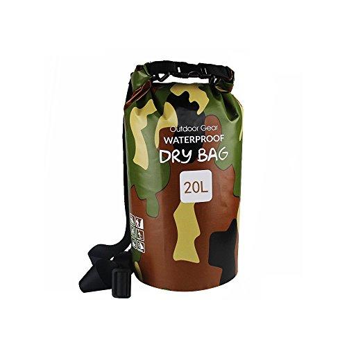 Bolsa seca para deportes al aire libre, impermeable, 20 l/25 l/30 l, resistente 500 D, bolsa de almacenamiento enrollable para kayak, barco, rafting, pesca, camping, natación, canoa, snowboard, color camuflaje, tamaño 20 L