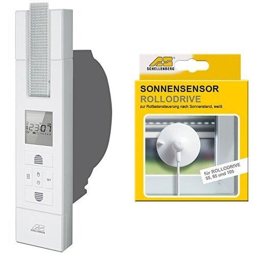 Schellenberg El. Gurtwickler Rollodrive 105 Plus, weiß, 22711 + Schellenberg Sensor für RD55, RD65 und RD105, weiß, 22720