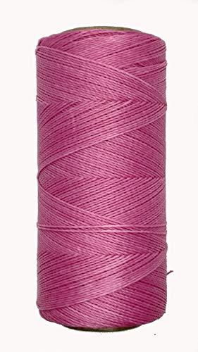 LINHASITA Bobina Hilo Encerado 100gr / 360 Metros 0,5 mm de Grosor Poliester Macrame 30 Colores (Rosa Chicle)