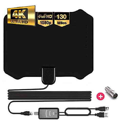 [Best of 2020] Digital Indoor Tv Antenna - Full HDTV Smart Amplified Antennas, Crystal Clear 1080P 4K Support, Powerful Amplifier Signal Booster, 55-130 Miles Range, 9.8ft Coax Cable, Free Channels