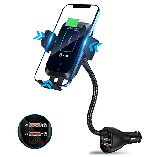 HVDI Wireless Car Charger Mount,Car CigaretteLighter 15W Qi Fast Charging Auto-Clamping Dual QC 3.0 Port Air Vent Car Charger Phone Holder,for iPhone 12 Pro Max/11 Pro Max/XR/X/8,Samsung S20/S10/9/8