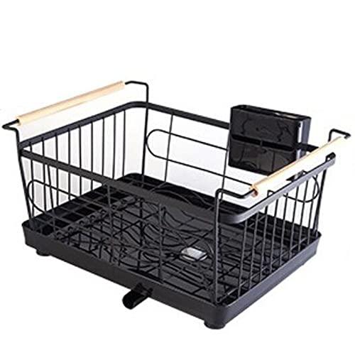 JJRYPSH Estantes De Cocina Estantería De Cocina Base Antideslizante Reforzada Bandeja De Drenaje Soporte Móvil para Palillos Cocina Baño,2 Colores,Black-43.5×31×23cm