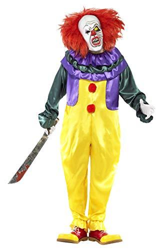 Halloween! Smiffys Kostüm Klassischer Horrorclown, Mehrfarbig, mit Einteiler und Maske