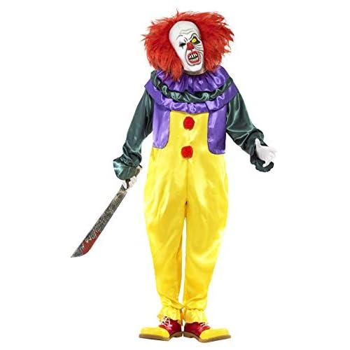 SMIFFYS Smiffy's 24376L - Horror Classic Clown Costume con Tuta e Maschera, Multicolore, L