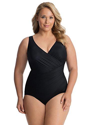 Miraclesuit Women's Plus Size Swimwear Solid Oceanus V-Neckline Underwire Bra Tummy Control One Piece Swimsuit, Black, 16W