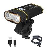 6000 LM Bicycle Front and Rear Light Set L2 LED Super Bright Bike Light USB Charging 5200mAh Bike Headlight SetD (L2 Front Light+01 Taillight)