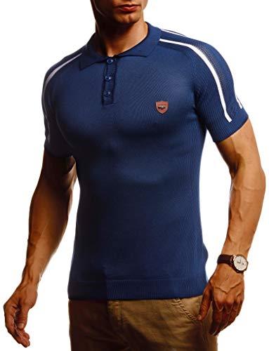 Leif Nelson Herren Sommer T-Shirt Poloshirt Slim Fit aus Feinstrick Cooles Basic Männer Polo-Shirt Crew Neck Jungen Kurzarmshirt Polo Shirt Sweater Kurzarm LN20765 D. Blau Medium
