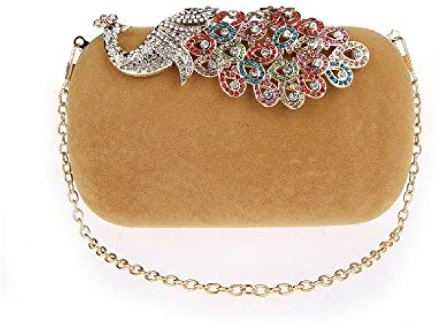 Ladies Handbag Hands Package Dinner Package Peacock Bag Hand Bag Ladies Handbags, Cross-Party-Style Small-Package Document Bag (color   Beige)