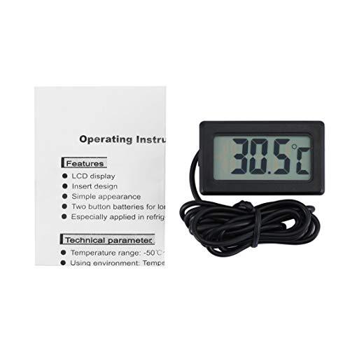 TPM-10 LCD-Digital-Thermometer Wasserdichte Innen Außen Kühlschrank Gefrierschrank Temperatur-Messinstrument -50~70 Celsius NTC-Sensor - Schwarz