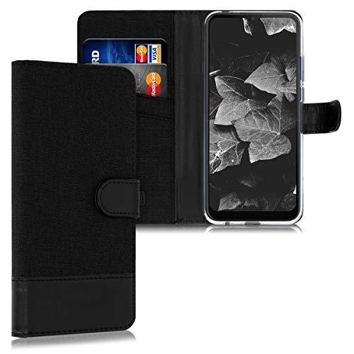 kwmobile Wallet Hülle kompatibel mit Motorola Moto G8 Power Lite - Hülle mit Ständer - Handyhülle Kartenfächer Schwarz Anthrazit