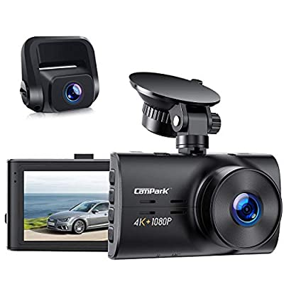 Campark 4K Dash Cam for Cars 4K+1080P Dual Channel, 1440P+1080P+1080P Front Inside Rear Car Camera IR Night Vision, Capacitor, Parking Mode, Support 256GB Max