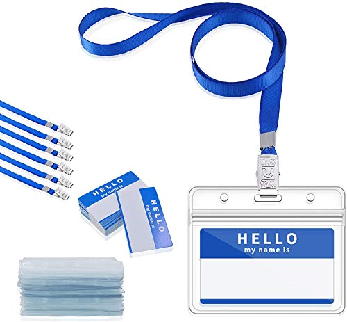 Gimars 30 pcs Blue Waterproof Name Badge Holders with Lanyards and Nameplates,Clear Conference Work Pass ID Card Holders for Business, Office and School