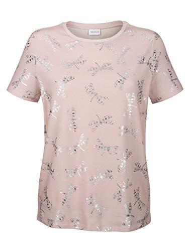 Delmod Damen T-Shirt mit Animal Print in Rosé aus Baumwolle