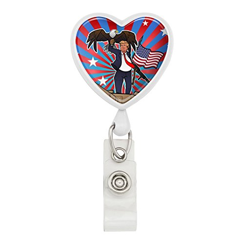 Patriotic Donald Trump with Eagle American Flag Gun Heart Lanyard Retractable Reel Badge ID Card Holder - White