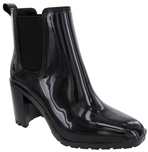 LONDON FOG Womens Prite High Heeled Rain Boot black 10