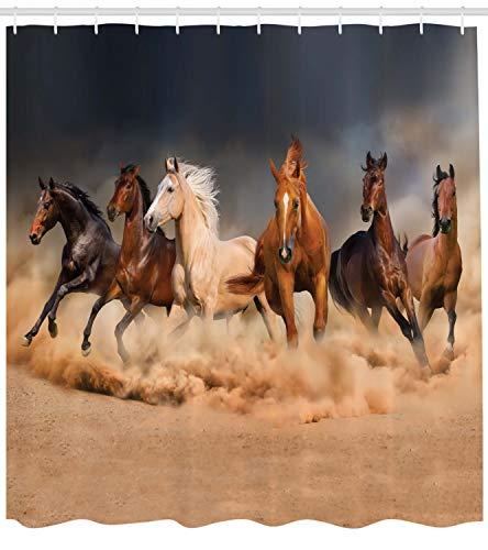 ABAKUHAUS Pferd Duschvorhang, Equine Themed Tiere, mit 12 Ringe Set Wasserdicht Stielvoll Modern Farbfest & Schimmel Resistent, 175x180 cm, Brown Sand Braun Hellbraun